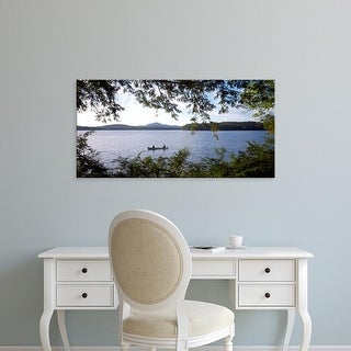 Easy Art Prints Panoramic Images's 'Men in a Canoe NY' Premium Canvas Art