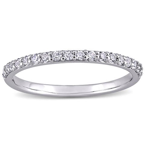 Miadora 10k White Gold Created White Sapphire Stackable Anniversary Band Ring