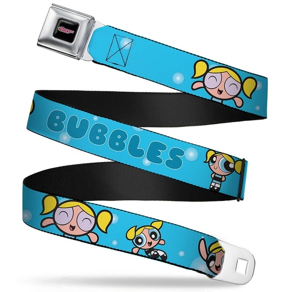The Powerpuff Girls Black White Pink Full Color Bubbles Poses Blue Webbing Seatbelt Belt