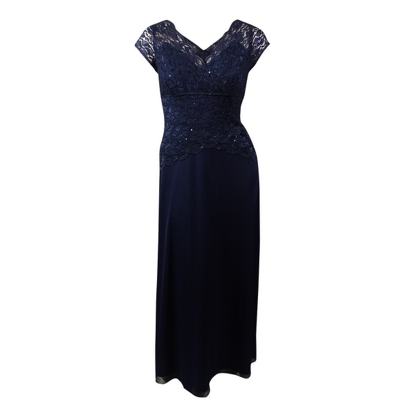 Onyx Nite Women's Glittered Sequined Lace Chiffon Dress