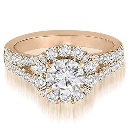1.70 cttw. 14K Rose Gold Halo Split-Shank Diamond Engagement Ring