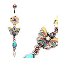 Vintage Fimo Flower Navel Belly Button Ring with Butterfly Dangle