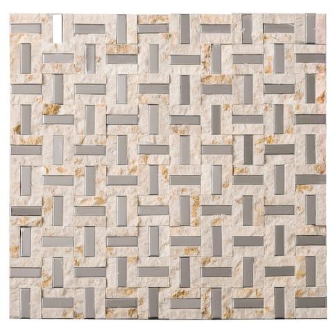 """TileGen. Maze 0.4"""" x 1.2"""" Metal Splitface Tile in Beige/Silver Wall Tile (10 sheets/10sqft.)"""