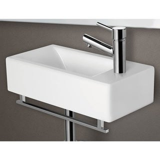 "ALFI brand AB108 19-3/4"" Porcelain Wall Mount Bathroom Sink with Single Hole Dri - White"
