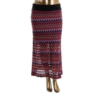 Karen Kane Womens Crochet Zig-Zag Striped Maxi Skirt