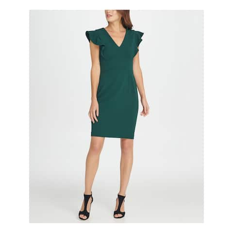 DKNY Green Petal Sleeve Above The Knee Dress 16
