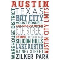 Austin, Texas - Typography - Lantern Press Artwork (Art Print - Multiple Sizes)
