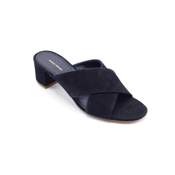 d08ca338a0 Shop Mansur Gavriel Women's Black Suede 40mm Crossover Sandals - 6 ...
