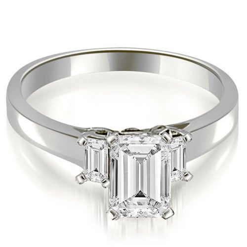 1.15 cttw. 14K White Gold Emerald Cut Three Stone Diamond Engagement Ring