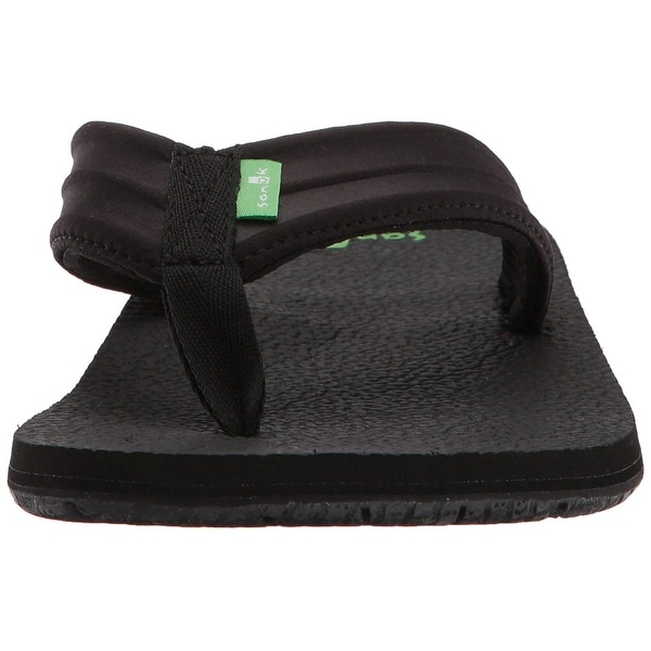 Men/'s Sanuk Land Shark Hawaii Flip Flop Black Synthetic
