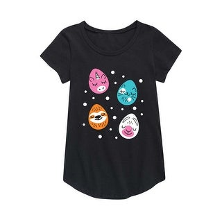 Animal Eggs - Easter Youth Girl Short Sleeve Curved Hem Tee