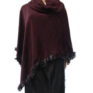Alfani NEW Purple Women's Medium M Faux Fur Cowl Neck Poncho Sweater