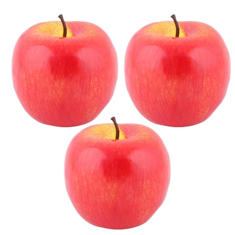 Table Decor Foam Artificial Apple Designed Emulation Fruit Mold 3pcs - Red