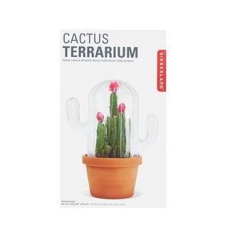"Kikkerland Cactus Terrarium - Terracotta Clay Flower Pot & Cactus Shaped Glass Dome 7 1/2"" High - 7.5 in. X 9 in. X 4.7 in."