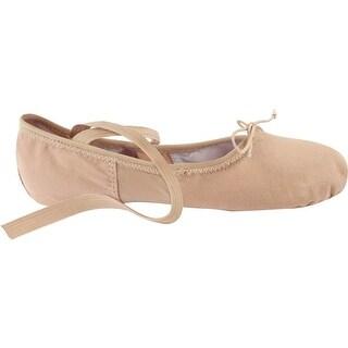 Pink Canvas Spandex Suede Split-Sole Elastic Strap Ballet Shoes 5-12 Womens