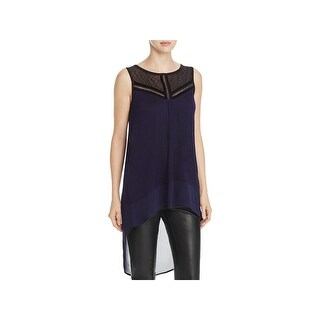 Avec Womens Casual Top Lace Trim Sleeveless