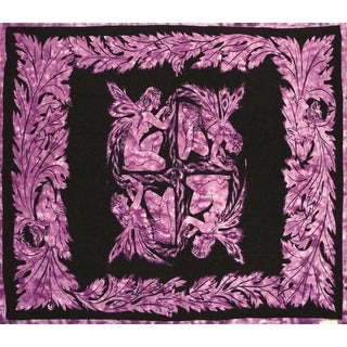"""Handmade 100% Cotton Faerie Braid Celtic Tapestry Tablecloth Coverlet 90"""" x 99"""" in Blue & Purple"""