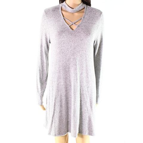 Moa Moa Womens Knit Dress Heather Gray Size XS Choker Crisscross V-Neck