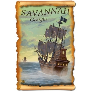 Savannah, Georgia - Pirate Ship - Lantern Press Artwork (Cotton/Polyester Chef's Apron)