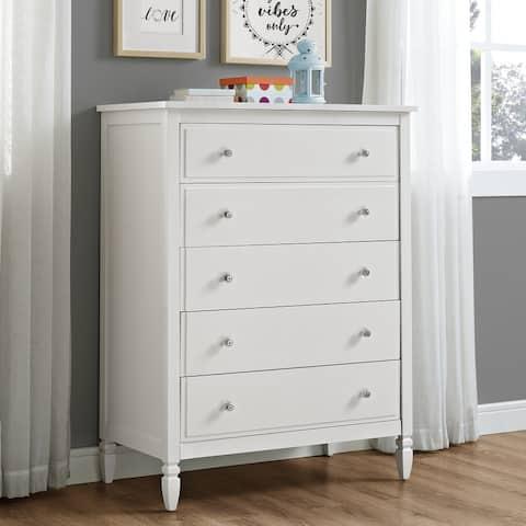 Dorel Living Vivienne White 5-Drawer Chest