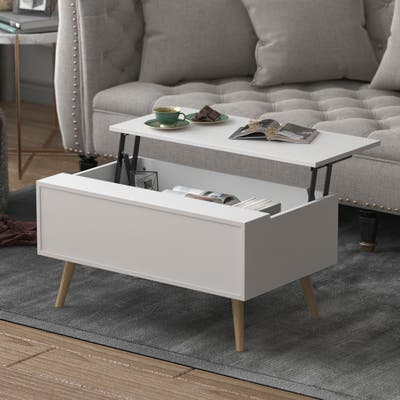 "Kerrogee 31 Inch Lift Top Coffee Table - Hidden Storage - 3 Colors - 31.1"" x 18.9"""