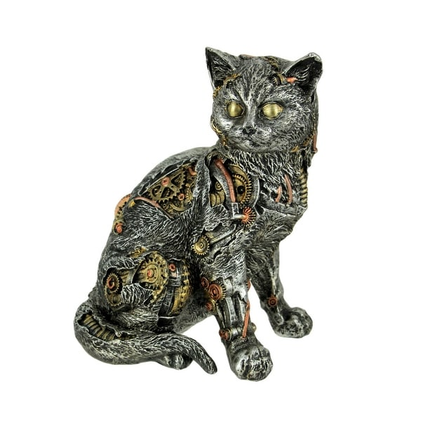 Mechanical Steampunk Cat Cyborg Kitty Statue - 7.75 X 6 X 4.5 inches