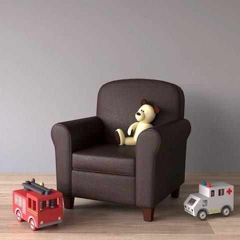 HomePop Kids Faux Leather Accent Chair with Rolled Arms