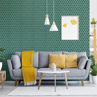 "SomerTile 11.125 x 12.625-Inch Tribeca 2"" Hex Glossy Jade Porcelain Mosaic Floor and Wall Tile (10 Tiles/9.96 sqft.)"
