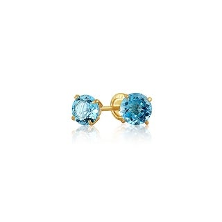 Bling Jewelry 14K Gold Blue Topaz Gemstone Baby Safety Screwback Earrings 4mm