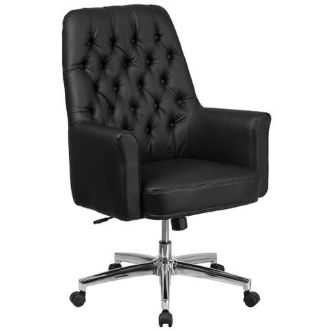 Mid-Back Traditional Tufted LeatherSoft Executive Swivel Office Chair