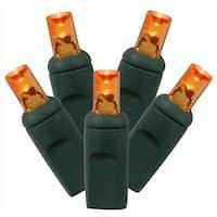 Set Of 50 Orange Commercial Grade LED Wide Angle Christmas Lights -