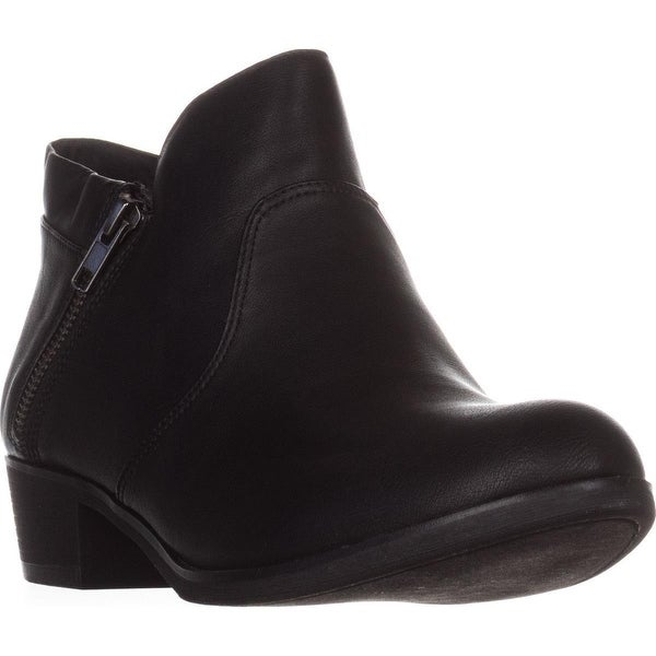AR35 Abby Side Zip Short Ankle Boots, Black Smooth