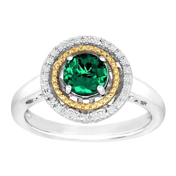 3/4 ct Created Emerald Halo Ring with Diamonds in Sterling Silver & 14K Gold