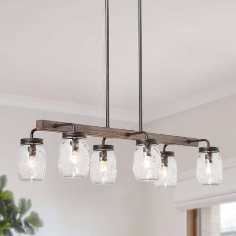 "Farmhouse Transitional 6-light Mason Jar Chandelier Island Lighting for Dining Room - Brown - L27.5""xW1""xH7.5"""