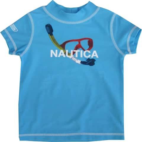 Nautica Baby Boys Sky Blue Glasses Print Rash Guard Swim Shirt 12-24M