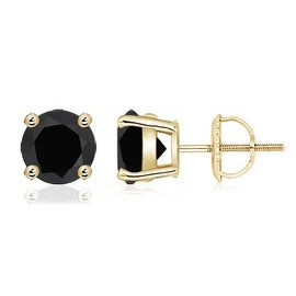 4 Prong Basket Setting Round Black Onyx Stud Earrings in 14K Yellow Gold (7.5mm Black Onyx)