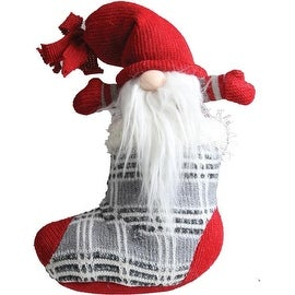 "10"" Gray and Red ""Tristan"" Gnome in Christmas Stocking Tabletop Decoration"