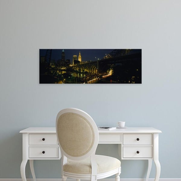 Easy Art Prints Panoramic Images's 'Arch bridge and buildings lit up at night, Cleveland, Ohio, USA' Canvas Art