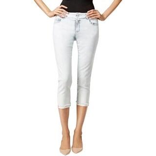 Nanette Lepore Womens Madison Capri Jeans Acid Wash Frayed Hem