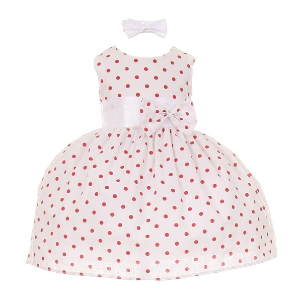 Baby Girls Red Polka Dot Headband Special Occasion Dress 3-24M