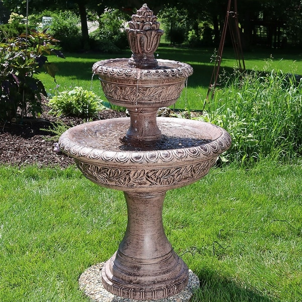 Sunnydaze Floral Tiered Solar-on-Demand Outdoor Water Fountain - 40-Inch