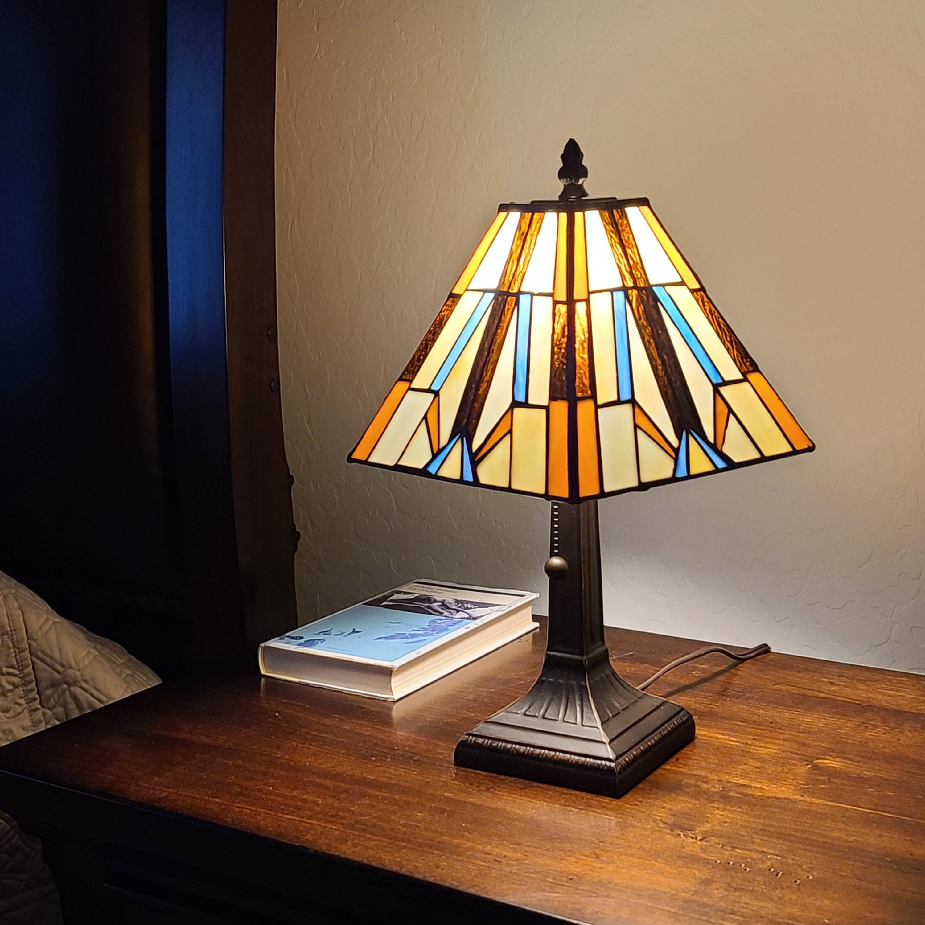Tiffany Style Mini Accent Lamp Mission Bedside Nightstand Handmade Pull Chain 15 Tall 8 Wide Gift Am100tl08b Amora Lighting Overstock 28416056