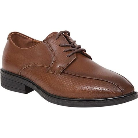 Deer Stags Boys' Tone Jr Perforated Oxford Dark Cognac Faux Leather