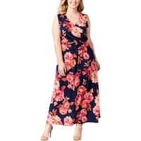 NY Collection Womens Plus Maxi Dress Floral Print Sleeveless