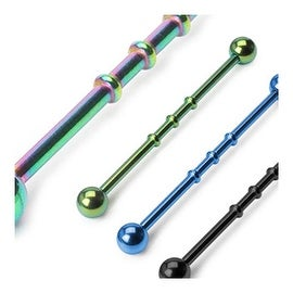 "Titanium Anodized 14G 1-1/2"" Triple Notched Industrial Barbell (Sold Individually) (5mm Ball)"