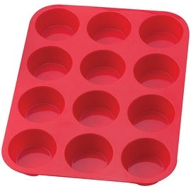 "The Essentials 43630 Silicone Muffin Pan, 12 Cup, 13-1/2"" x 10"" x 1-1/4"""