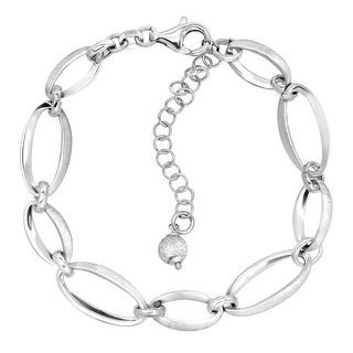 Textured Oval Link Bracelet in Sterling Silver - White
