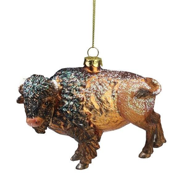 """3.5"""" Brown and Black Bison Buffalo Glass Christmas Ornament"""