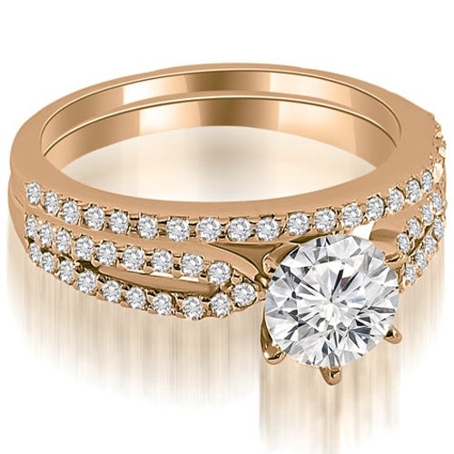 0.97 cttw. 14K Rose Gold Cathedral Split Shank Round Diamond Bridal Set