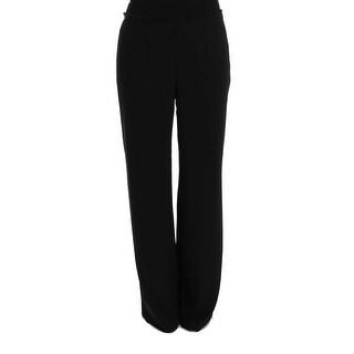 BENCIVENGA BENCIVENGA Black Silk Straight Fit Dress Pants